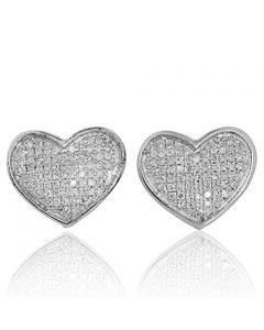 Ladies Fashion Heart Earrings 1/4ctw Diamonds Sterling Silver 12mm Wide Screw Back (i2/i3, i/j)