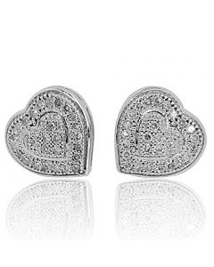 10k White Gold Heart Earrings Women 0.15Cttw Diamonds Screw Back 8mm Wide(i2/i3, i/j)