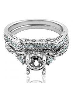 14K White Gold Wedding Ring Set Semi Mount 1/3ctw Diamonds Fits 1ct Round Solitaire (i2/i3, I/j)