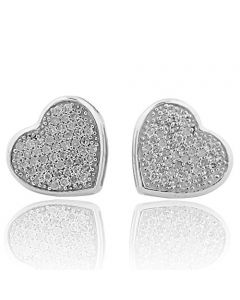 10k White Gold Heart Earrings Women Studs 0.30Cttw Diamonds Screw Back 9mm Wide(i2/i3, i/j)