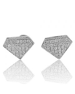10k White Gold Diamond Shape Fashion Earrings 0.14Cttw Diamonds Screw Back 6mm Wide(i2/i3, i/j)