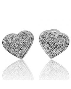 Ladies Heart Stud Earrings 0.10 Cttw Diamonds 10k White Gold Screw Back 7mm(i2/i3, i/j)