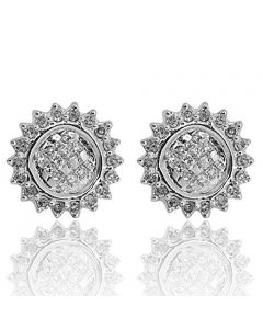 14K White Gold Diamond Earrings Round Cluster With Princess Cut 10mm 1/2ctw(i2/i3, i/j)