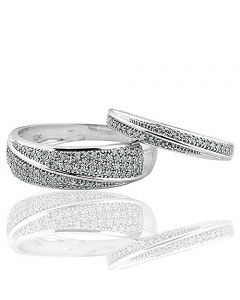 White Gold Wedding Bands His and Her Rings Duo Set 10K 0.25ctw 10mm (i2/i3, I/j)