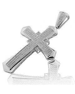 0.46cttw Diamond Cross Pendant Mens 56mm Tall Charm 10k White Gold