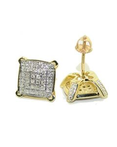 10k Yellow Gold Cushion Stud Earrings With 0.21cttw Diamonds 10mm Wide