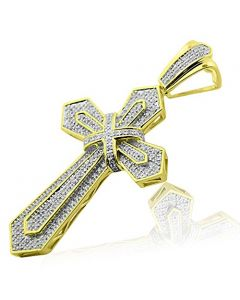 10K Yellow Gold Diamond Cross Charm Pendant 51mm Tall 0.49cttw