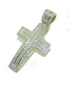 Gold And Diamond Cross Pendant 31mm 10K Yellow Gold 0.31cttw