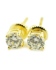 0.50ctw Diamond Stud Earrings 14K Yellow Gold Screw On Backs 4mm Wide