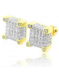 0.27ct Diamond Cube Earrings 10k Yellow Gold 9mm Wide Screw Back