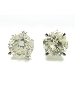 0.78ctw Diamond Stud Earrings 14K White Gold Screw On Backs 4mm Wide