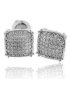 925 Silver Diamond Stud Earrings 0.21cttw Square Fancy Mens Screw Back 10mm Wide