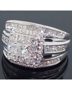 2.00ctw Diamond 3 In 1 Style Princess Cut Wedding Ring 14K White Gold 15mm Wide