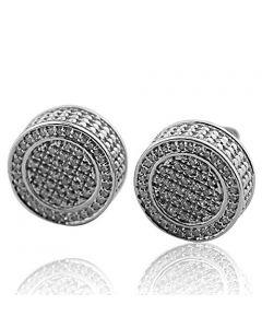 12.5mm Round 0.36Ctw Diamond 3D Stud Earrings in 925 Silver