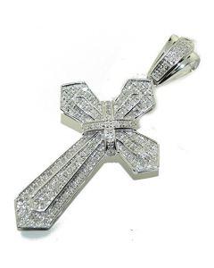 10K White Gold Diamond Cross Charm Pendant 51mm Tall 0.47cttw
