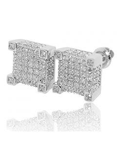 10mm Wide White Diamond Earrings Cubes 0.28cttw in 925 Sterling Silver