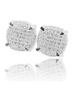 Diamond Cube Earrings White Silver 0.35ctw Pave Set Screw Back 9mm Wide Round