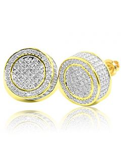 0.36Ctw Round 3D Stud Earrings in 10k Yellow Gold 12.5mm Wide Screw back