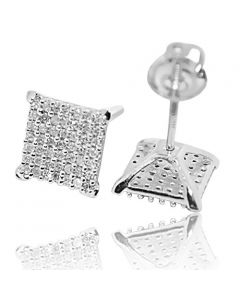 10K White Gold Diamond Stud Earrings 8mm Wide 0.25ctw Diamonds Pave Screw Back