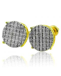 10mm Wide Round Cluster Stud Earrings 0.22ctw Diamonds 10K Yellow Gold Screw Back