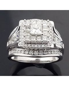 14K White Gold Princess Cut Bridal Wedding Ring 16mm Wide 2.00ctw 3 In 1 Style