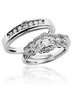 Trio Wedding Ring Set in White Gold Real Diamonds 0.6ct Bride & Grooms Infinity(i2/i3, i/j