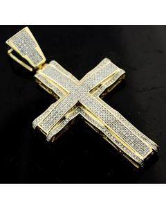 Diamond Cross Real Gold 10K Mens 2.5 Inch Tall 1.15ctw Pave Set Mens Cross Charm