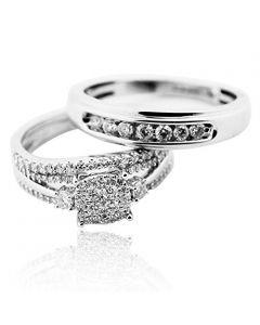 Bride and Groom Rings Set White Gold and Real Diamonds 0.75ctw 10K Trio Set Sale(i2/i3, i/j