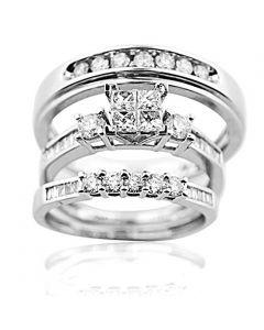 Trio Wedding Ring Set His and Her Rings White Gold Real Diamonds Princess 0.75ct(i2/i3, i/j
