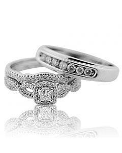 Princess Cut Diamond Bride and Grooms Wedding Ring Trio Set 10K White Gold(i2/i3, i/j
