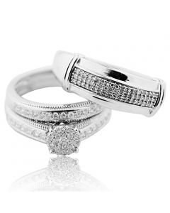 White Gold and Diamond Wedding Ring Set His and Her Rings Trio 10K 0.62ctw Real(i2/i3, i/j