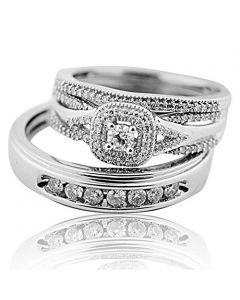 Vintage Wedding Rings Set White Gold 0.65ct Diamonds Trio Set His and Hers 10K(i2/i3, i/j