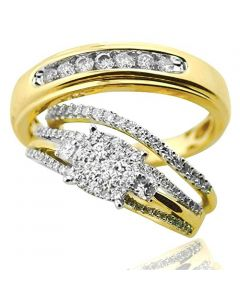10K Gold Trio Rings Set His and Her Bridal Matching Set 0.75ct Real Diamonds 3pc(i2/i3, i/j