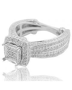 Bridal Engagement Ring Vintage Inspired 10K White Gold Euro Shank 1.50ctw