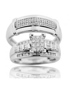 10K White Gold Bridal Wedding Set For His and Her Womens Wedding Ring Mens Wedding Band 0.62ctw (i2/i3, I/j)