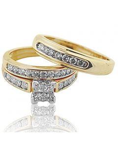 Trio Wedding Ring Set His and Her Rings Real Gold Real Diamonds Princess 0.75ct(i2/i3, i/j