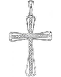 Natural Diamond Cross Pendant for Men or Women Sterling Silver 1/10ctw