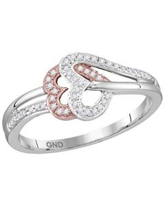 10K White Gold Twin Hearts Ring Natural Diamond 0.15ctw With Rose Gold Tone (i3, j/k)