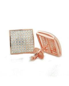 Mens Fashion Earrings Rose Gold-Tone Silver Screw Back 11mm Wide CZ pave Set