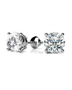 Real Diamond Earrings Mens or Womens Round Solitaires Screw Back 0.50ctw Natural