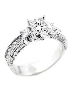 10K White Gold Princess Cut Engagement Ring 3-Stone Style Genuine Diamond and Moissanite 1.75ctw(i2/i3, I/j)