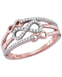 10K Gold Rose Gold Infinity Style Statement Fashion Ring 0.15ctw (i3, j/k)