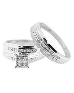 10K White Gold His and Her Rings Set 0.15ctw 3pc Set