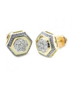 10K Gold Fashion Earrings With Diamonds 0.45ctw 10mm Wide Stop Sign Shaped (i2/i3, i/j)