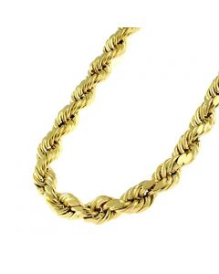10k Yellow Gold 5mm D-cut Rope Chain Necklace Lobster Clasp