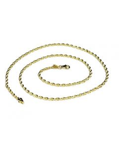 10k Yellow Gold 2.5mm Solid Rope Chain Necklace Lobster Clasp