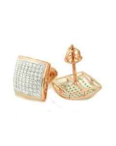 10K Rose Gold Diamond Stud Earrings Pave Set 10mm Wide Screw Back 0.35ctw(i2/i3, i/j)