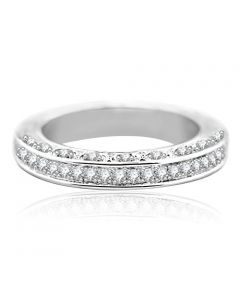 14K White Gold Wedding Band Anniversary Ring 1/3ctw Diamonds Pave Set Filigree (i2/i3, i/j)