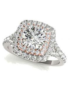 14K White Gold and Rose Tone Bridal Engagement Ring Halo Style 2.00ctw Split Shoulder