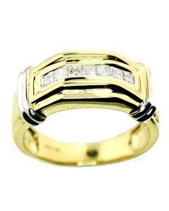 14k Gold Wedding Ring 1/2ctw Diamond Princess Cut Extra Wide 9mm Wide Two Tone (i2/i3, I/j)